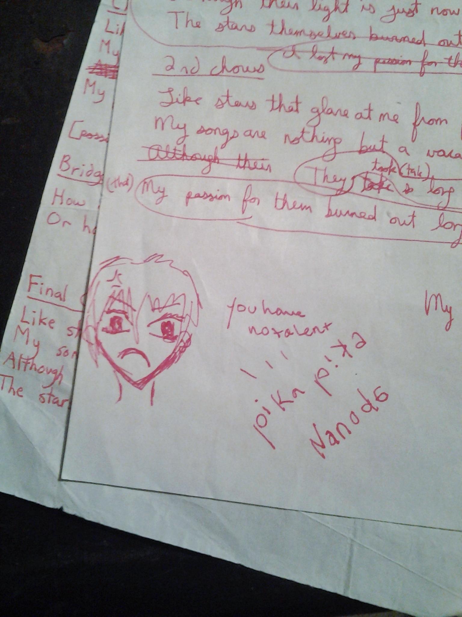 ZERO TALENT original lyrics sheets