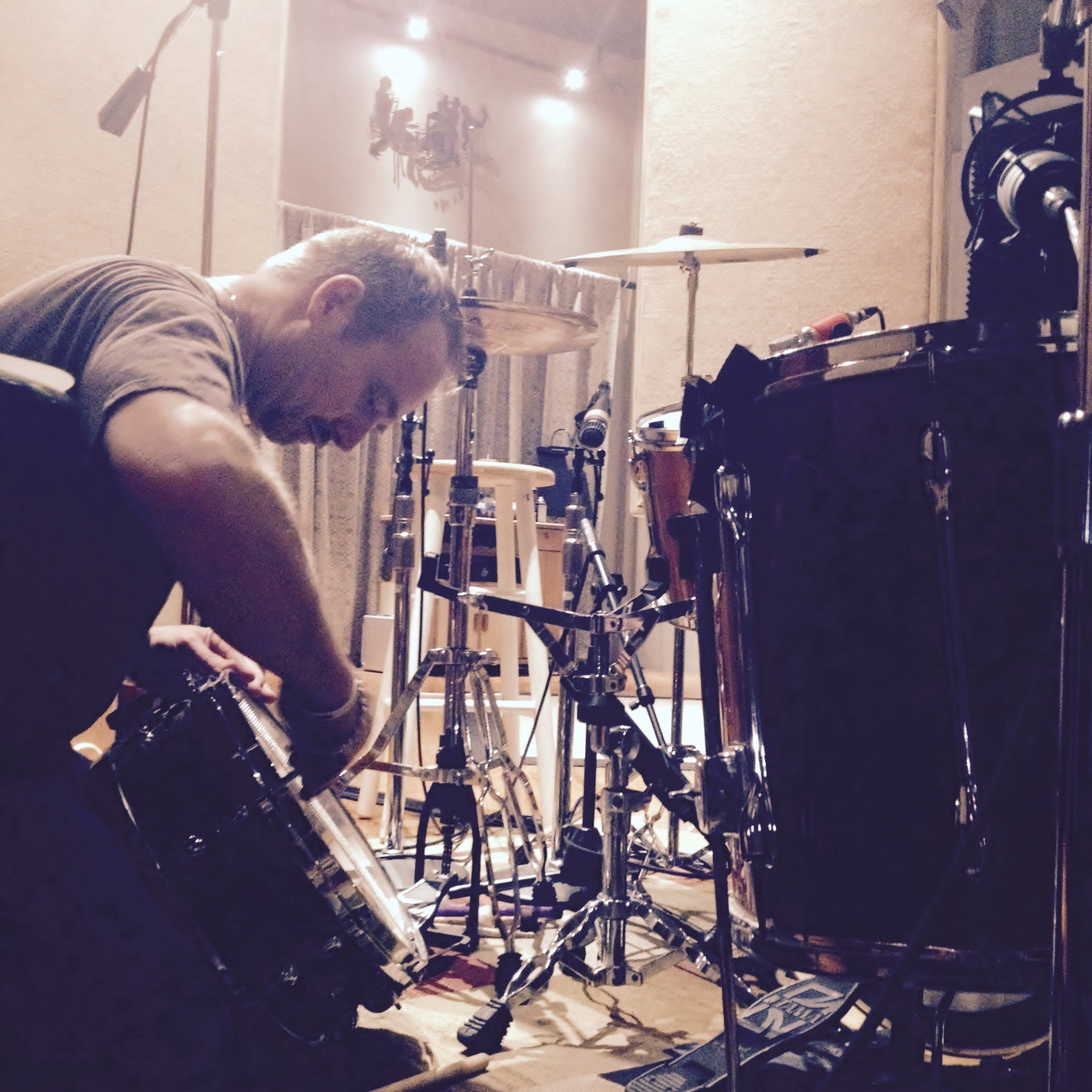 Gerry King getting the drums ready for recording